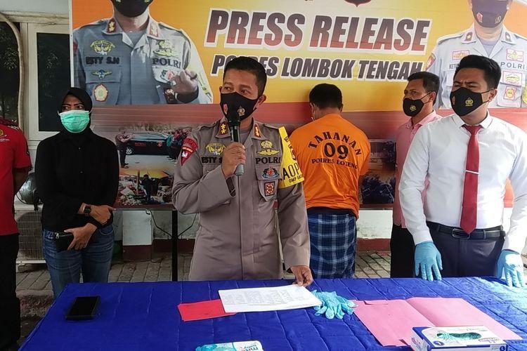 jumpa pers Polres Lombok Tengah atas kasus pembunuhan akibat hubungan gelap di Desa Kateng