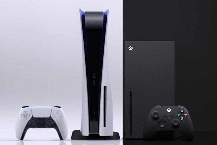 Ilustrasi konsol game PS5 dan Xbox Series X.