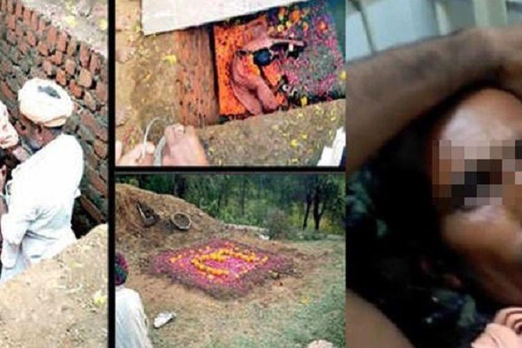 Potongan gambar video memperlihatkan pria bernama Deeraj Kharol dikubur hidup-hidup dalam sebuah ritual, dan diselamatkan setelah delapan jam.