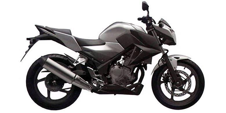 Gambar rekayasa digital Honda CB300/250R versi telanjang yang akan dipatenkan melalui OHIM.