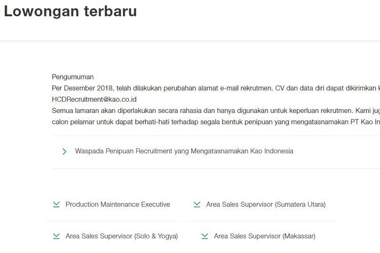 Tampilan layar lowongan kerja PT Kao Indonesia.