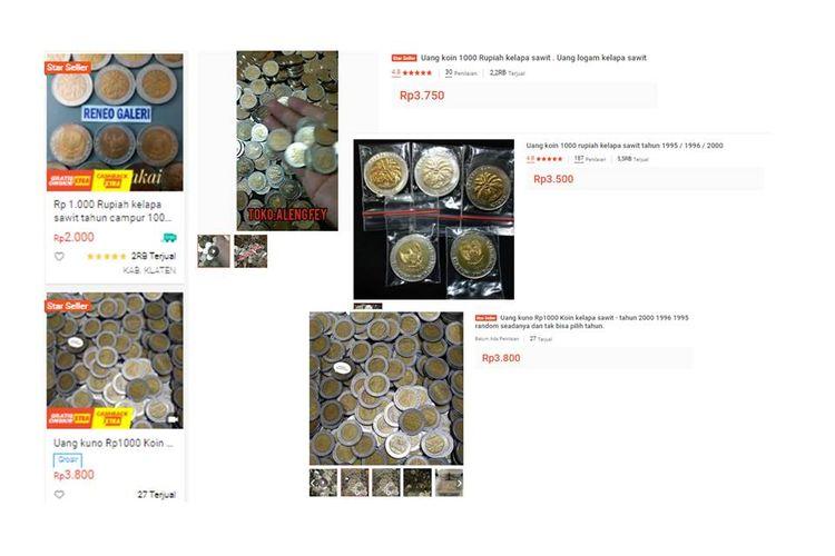 Uang koin Rp 1.000 bergambar kelapa sawit yang dijual di marketlpace.