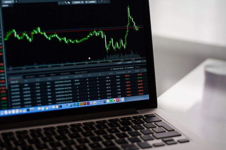 Ilustrasi saham, pergerakan saham.