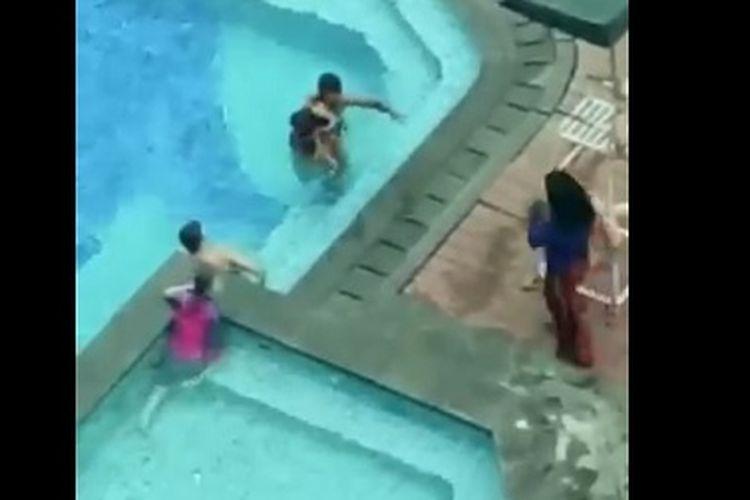 seorang anak berusia 4 tahun tewas tenggelam di kolam renang sebuah hotel di Makassar.