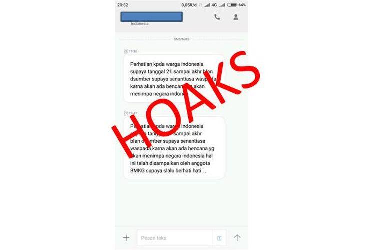 Hoaks pesan yang berisi ada bencana lain hingga akhir tahun 2018, yang atasnamakan pihak BMKG.