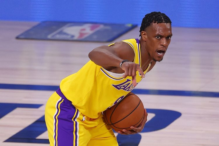 Point Guard Lakers, Rajon Rondo, pada gim pertama final NBA Wilayah Barat kontra Nuggets, Sabtu (19/9/2020) pagi WIB.