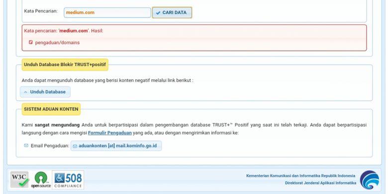 Domain Medium.com sempat tercantum dalam daftar situs yang diblokir dalam database TRUST Positif.