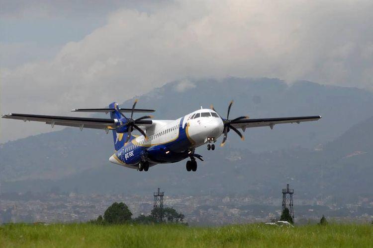 Ilustrasi pesawat - Maskapai penerbangan Buddha Air.