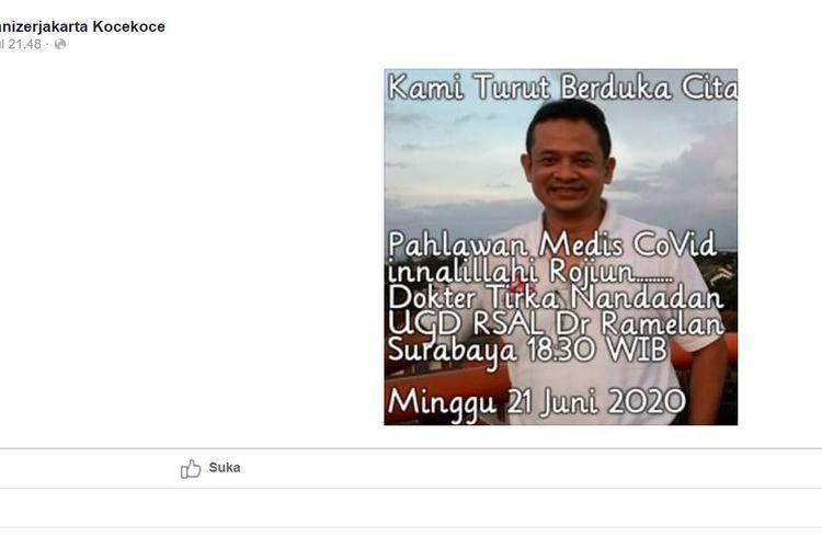 Unggahan oleh akun Facebook Eventorganizerjakarta Kocekoce, yang ternyata hoaks.