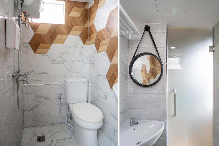 Kamar mandi modern dengan pola heksagonal