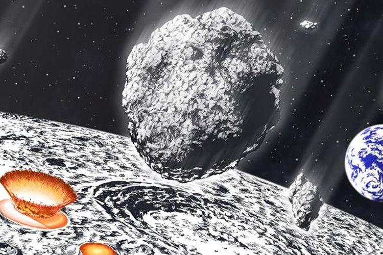 ilustrasi hujan asteroid