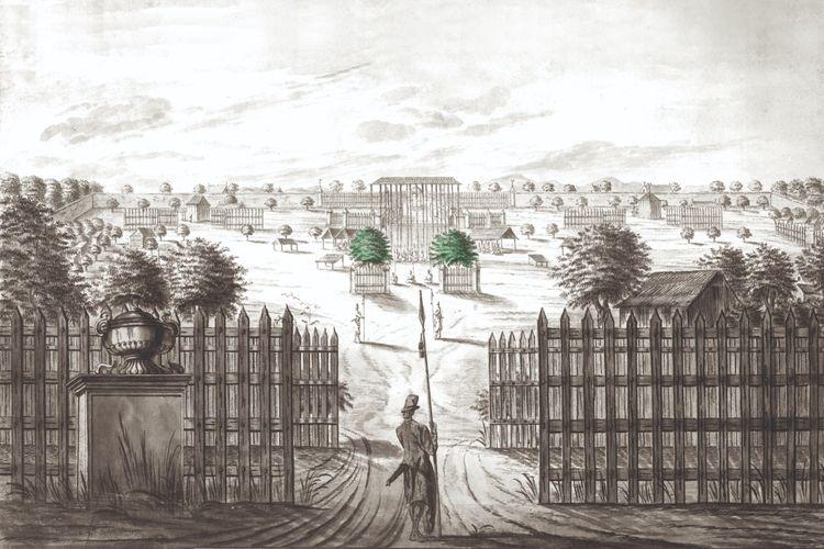 Diolah dari sketsa pemandangan Keraton Yogyakarta dari alun-alun sebelah utara karya A. de Nelly, salah seorang murid Johannes Rach dari Denmark, sekitar 1771.