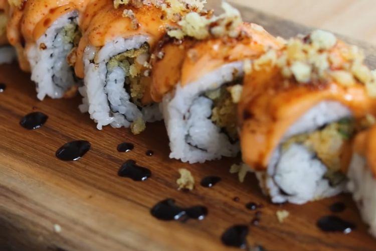 Mentai sushi roll sosis.