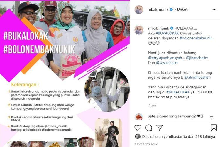 Unggahan Wagub Lampung Chusnunia Chalim tentang bantuan promo produk UMKM di akun Instagram.