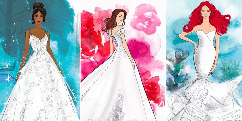 Sketsa koleksi gaun pengantin yang terinspirasi para Princess Disney.