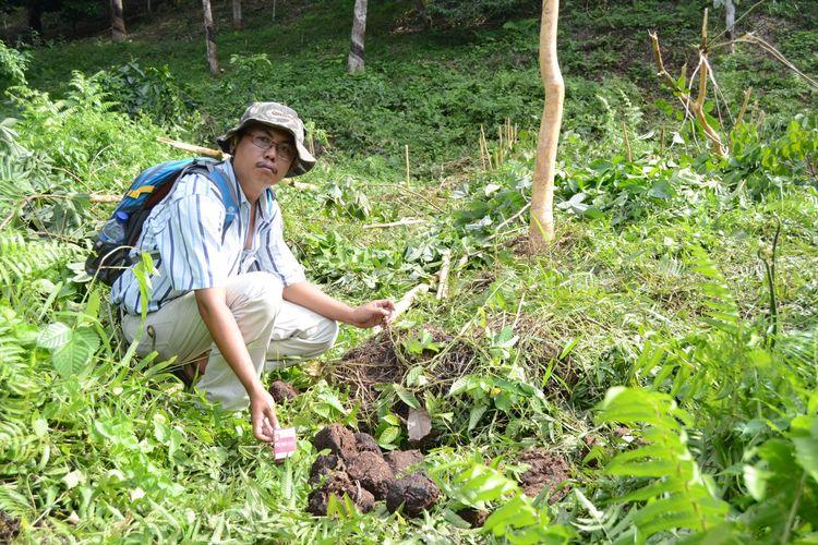 Seorang petani duduk depan kotoran gajah dan batang pohon karet muda yang kulitnya terkelupas karena dimakan gajah yang melintas di kebun karet masyarakat di Dusun 5 Damar Itam Desa Mekar Makmur Kecamatan Sei Lepan Langkat, beberapa waktu lalu.