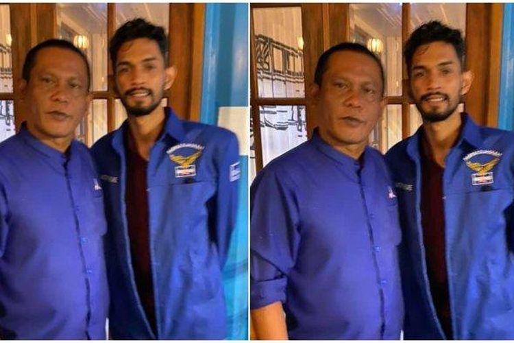 Ketua Partai Demokrat Lhokseumawe T Sofianus bersama Martunis yang memakai baju Partai Demokrat. Foto disceenshot dari akun Facebook T Sofianus.