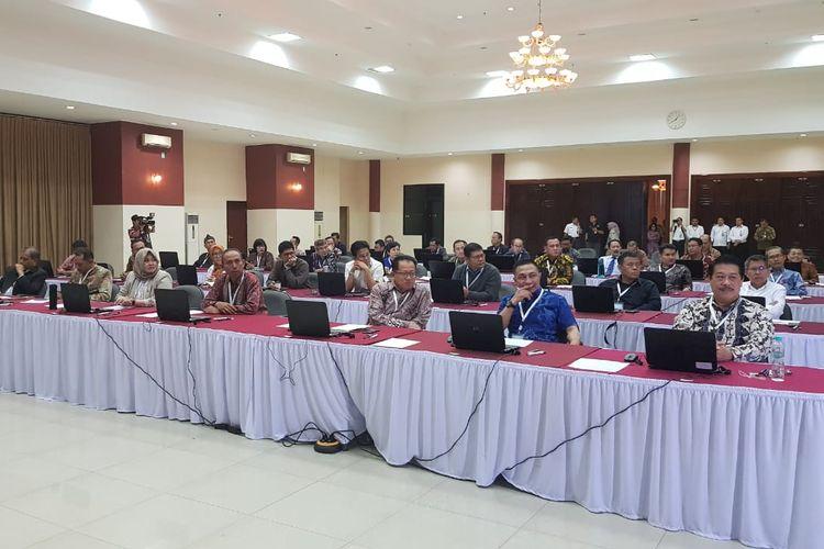 Para calon pimpinan KPK bersiap melaksanakan profile assessment di Gedung Lemhanas, Kebon Sirih, Jakarta Pusat, Kamis (8/8/2019).