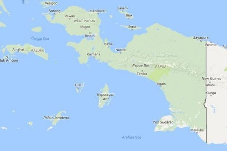 A map of the Indonesian provinces of Papua and West Papua