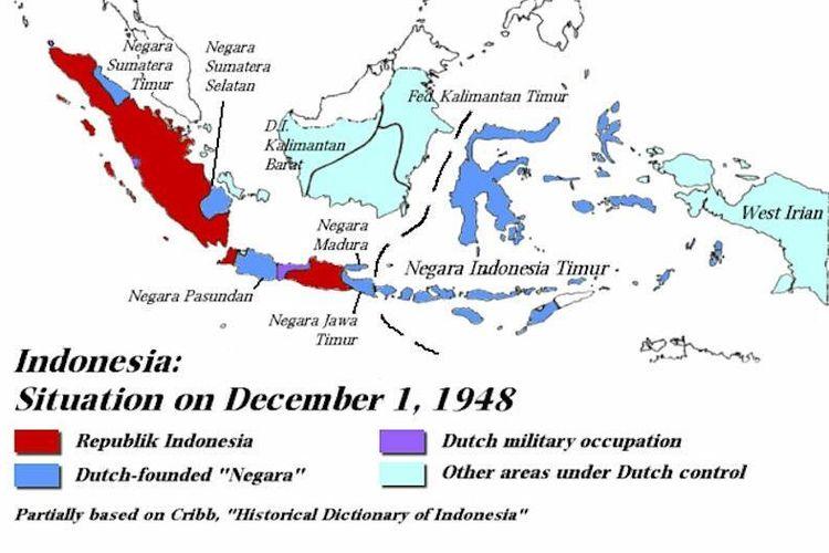 Peta Indonesia setelah Agresi Militer Belanda I dan Perjanjian Renville