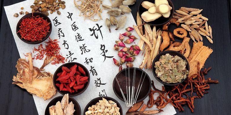 Ilustrasi obat tradisional China.