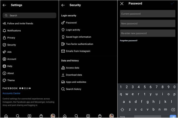 Cara mengganti password akun Instagram di ponsel.