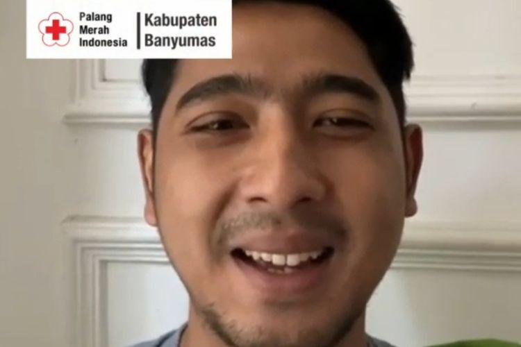 Tangkapan layar video Arya Saloka, pemeran Aldebaran dalam sinetron Ikatan Cinta mengajak masyarakat mendonasikan darah di PMI Banyumas, Jawa Tengah.