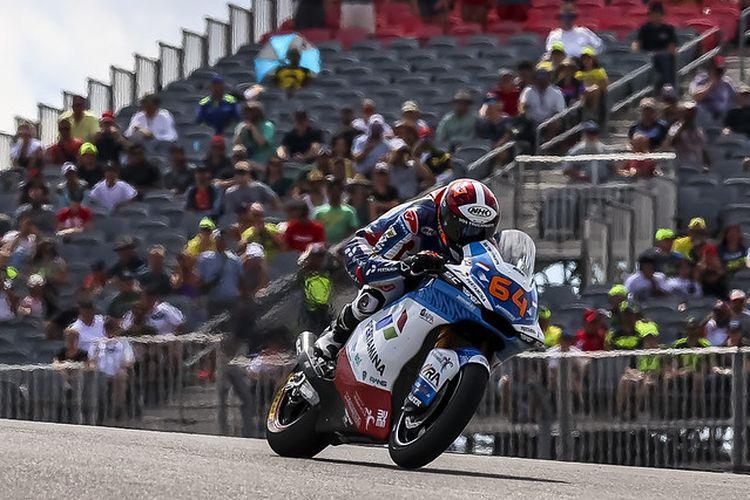 Pebalap Pertamina Mandalika SAG Team, Bo Bendsneyder, saat balapan pada Moto2 Amerika 2021