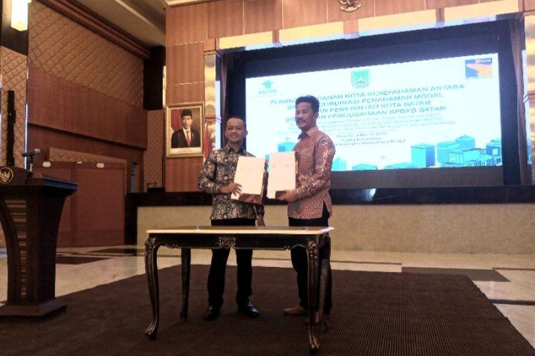 Penendatanganan MoU OSS antara Badan Koordinasi Penanaman Modal (BKPM) bersama Badan Badan Pengusaha (BP) Batam di Jakarta Senin (9/3/2020)