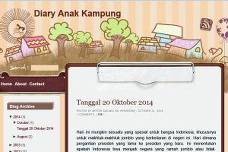 Blog milik Kaesang Pangarep, putra Presiden RI, Joko Widodo