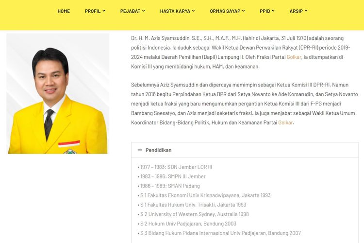 Tangkapan layar profil Wakil Ketua Umum Koordinator Bidang Politik Hukum dan Keamanan Partai Golkar Azis Syamsuddin.