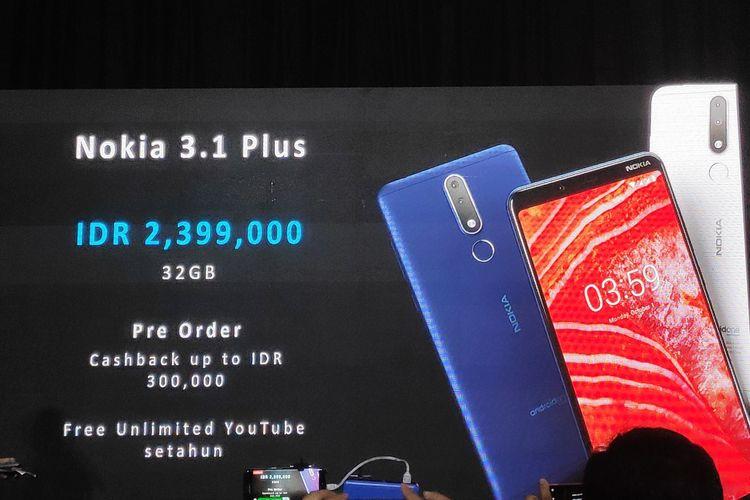 Peluncuran Nokia 3.1 Plus di Jakarta, Selasa (19/3/2019).