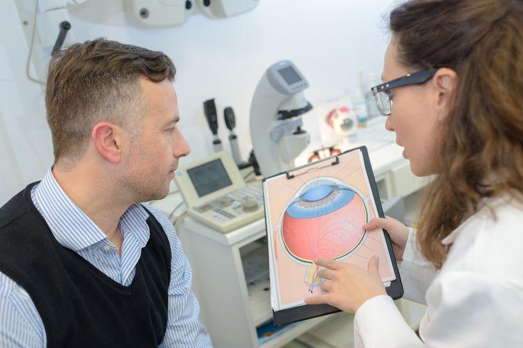 Ilustrasi pemeriksaan mata, glaukoma, gangguan mata. Glaukoma adalah satu penyebab utama kebutaan di dunia.