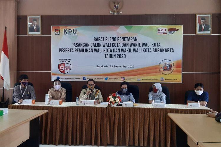 Komisi Pemilihan Umum (KPU) Solo menetapkan pasangan calon wali kota dan wakil wali kota pada Pilkada Serentak 2020 di Kantor KPU Solo, Jawa Tengah, Rabu (23/9/2020).