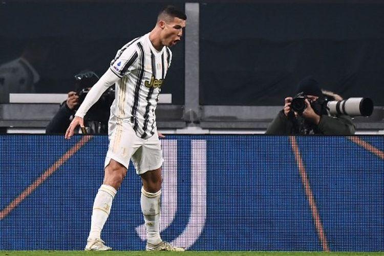 Selebrasi Cristiano Ronaldo pada laga pekan ke-15 Liga Italia yang mempertemukan Juventus vs Udinese di Stadion Allianz, Senin (4/1/2021) dini hari WIB.