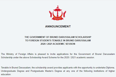 Brunei Sediakan Beasiswa untuk Program Diploma, Sarjana dan Pascasarjana, Ini Persyaratannya