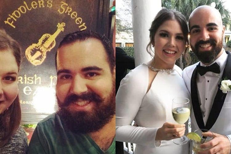 Foto sebelum dan sesudah penurunan berat badan Mary Jane OToole bersama suaminya Alex.