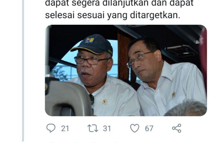 Menteri Perhubungan Budi Karya Sumadi dan Menteri Pekerjaan Umum dan Perumahan Rakyat (PUPR) saat meninjau proyek Kereta Cepat Jakarta Bandung, Rabu (4/3/2020).