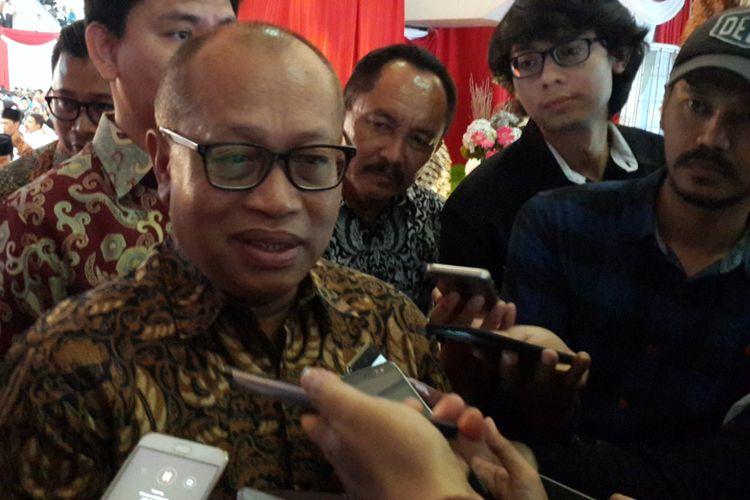 Direktur Utama BPJS Ketenagakerjaan, Agus Susanto dalam Sarasehan Peningkatan Kapasitas Aparatur Desa di Gor Ken Arok, Kota Malang, Rabu (1/8/2018).