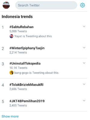 Tagar #UninstallTokopedia masuk Trending Topic Twitter untuk wilayah Indonesia pada Sabtu (30/11/2019).