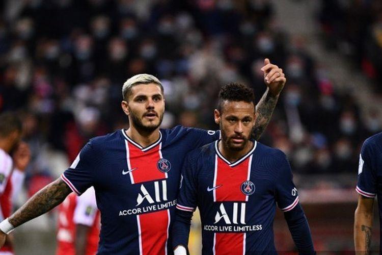 Dua penyerang Paris Saint-Germain (PSG), Mauro Icardi dan Neymar kala kontra Reims, Senin (28/9/2020) dini hari WIB di Liga Perancis.
