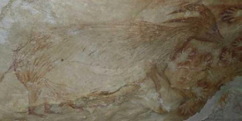 Lukisan tua di goa di Sulawesi menggambarkan wujud hewan yang kemungkinan hanya ada dan diburu di Sulawesi.