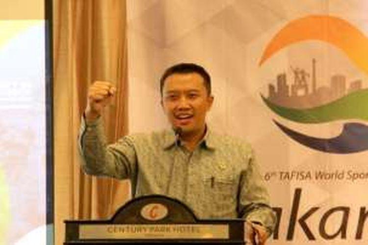 Menpora Imam Nahrawi saat menjadi pembicara kunci pada Gatra On Talk yang bertajuk Talk Show Tafisa Games 2016 di Hotel Century Jakarta, Selasa (13/9/2016)