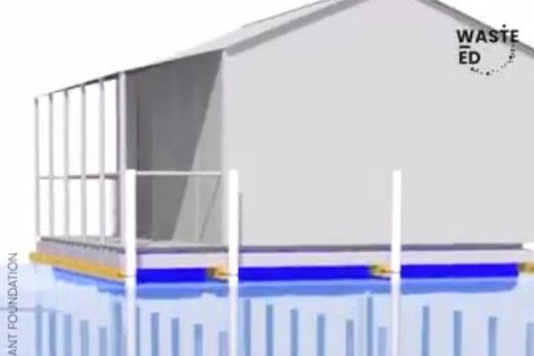 Desain Rumah Terapung dari Bahan Daur Ulang Jadi Solusi Pencegah Banjir Begini