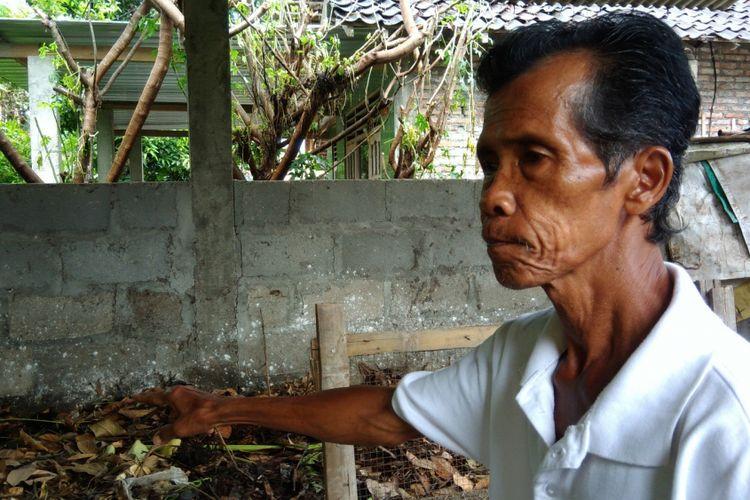 Lasiyo Menunjukkan Lokasi Pembuatan Pupuk Organiknya di Rumahnya Dusun Ponggok, Sidomulyo, Kecamatan Bambanglipuro, Kabupaten Bantul, Yogyakarta, Rabu (16/1/2019)
