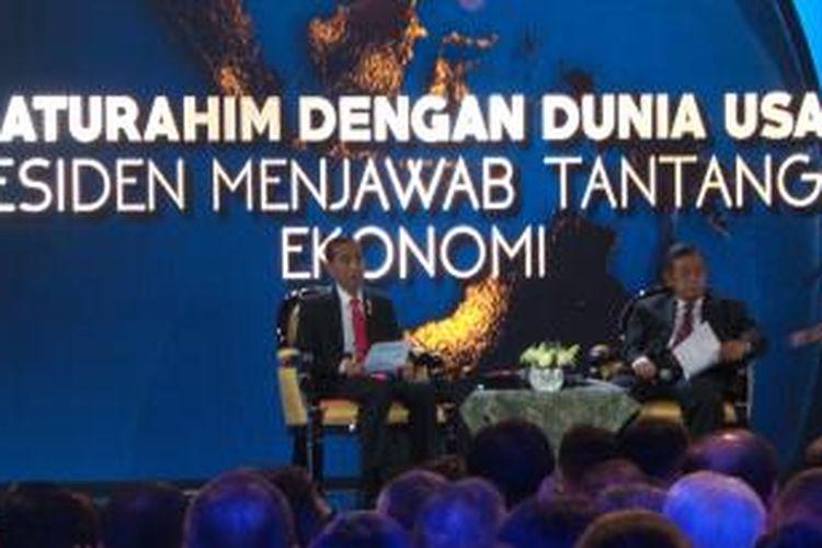 Presiden Joko Widodo berbicara soal pelambatan ekonomi dalam acara yang diselenggarakan ISEI di jakarta Convention Center, Kamis (9/7/2014).