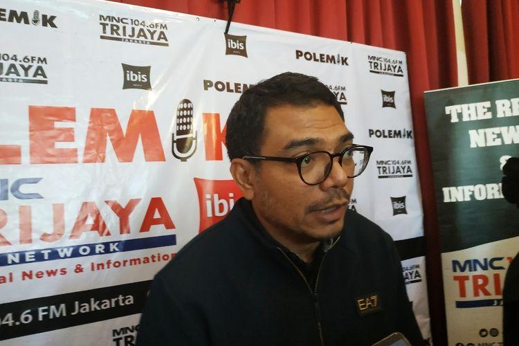 Tenaga ahli utama kedeputian komunikasi politik KSP Donny Gahral Adian usai mengisi diskusi di Gondangdia, Jakarta Pusat, Sabtu (8/2/2020).