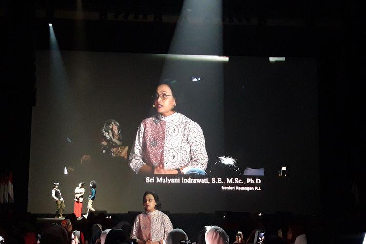 Menteri Keuangan Sri Mulyani Indrawati ketika melakukan monolog dalam peringatan Hari Ibu di Jakarta, Minggu (22/12/2019)