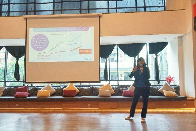 Chief Marketing Officer Agate, Shieny Aprilia, saat berbicara dalam acara peresmian sub-brand Agate Level Up di Jakarta, Rabu (30/1/2019).