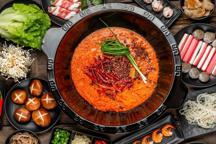 Mala Hot Pot, makanan ikonik asal Sichuan, China.